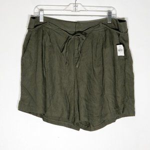 Old Navy Shorts Womens 14 Linen Blend Tie Belt